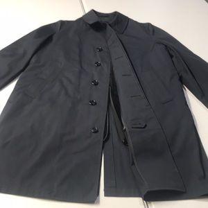LONDON FOG Mens Blue Fur Liner Trench Coat 40R
